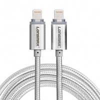 Кабель USB Lonsmax для Iphone 5/6/7/8 в тканевой оплетке с LED подсветкой 1M серебро
