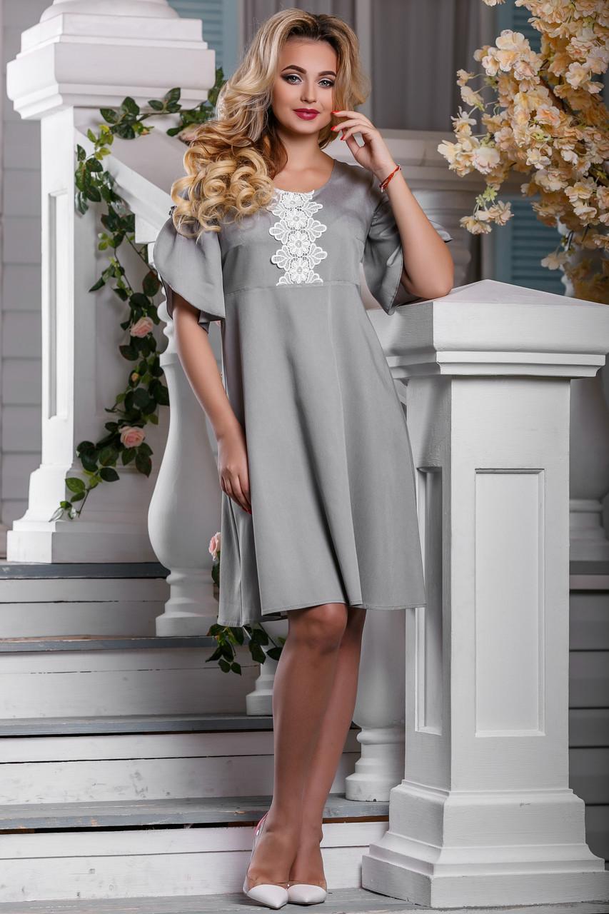 a0f3c7f04a8 Летнее платье расширенного фасона из коттона с льняным кружевом (разные  цвета) - IBERIS в