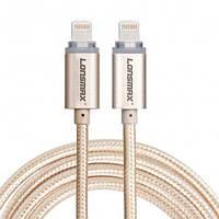 Кабель USB Lonsmax для Iphone 5/6/7/8 в тканевой оплетке с LED подсветкой 1M золото