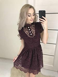 Короткое женское платье из гепюра ft-387 сливовое