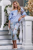 Летняя блуза с открытыми плечами 953 (42–48р) в расцветках, фото 1