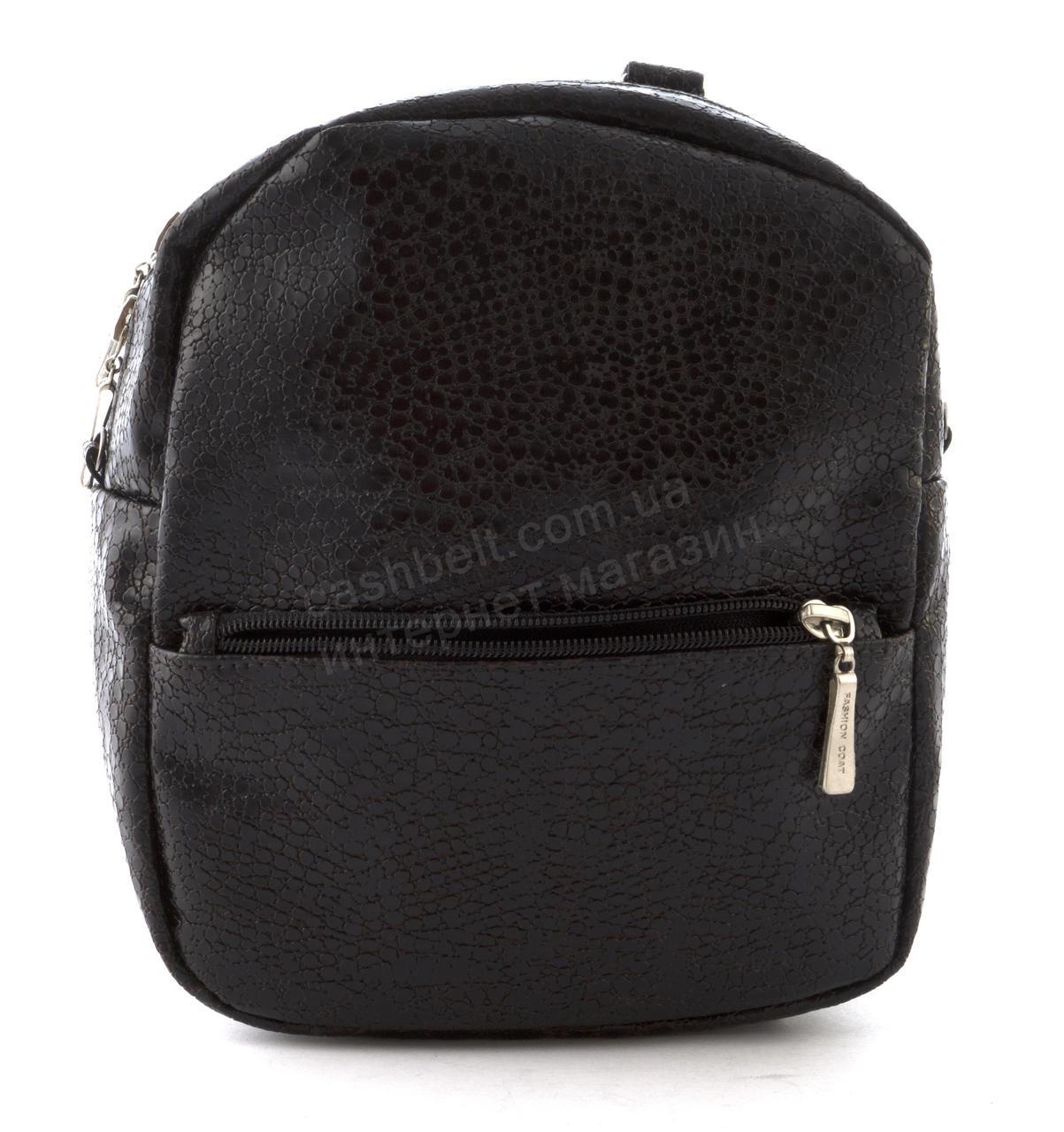 Маленький стильный оригинальный женский рюкзачок с качественной кожи PU ручная работа art. 016 (102297) корич