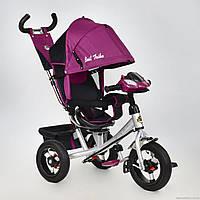 Трёхколесный велосипед Best Trike 7700 B- 6560, надув колеса, поворот сидение,фара, фиолетовый
