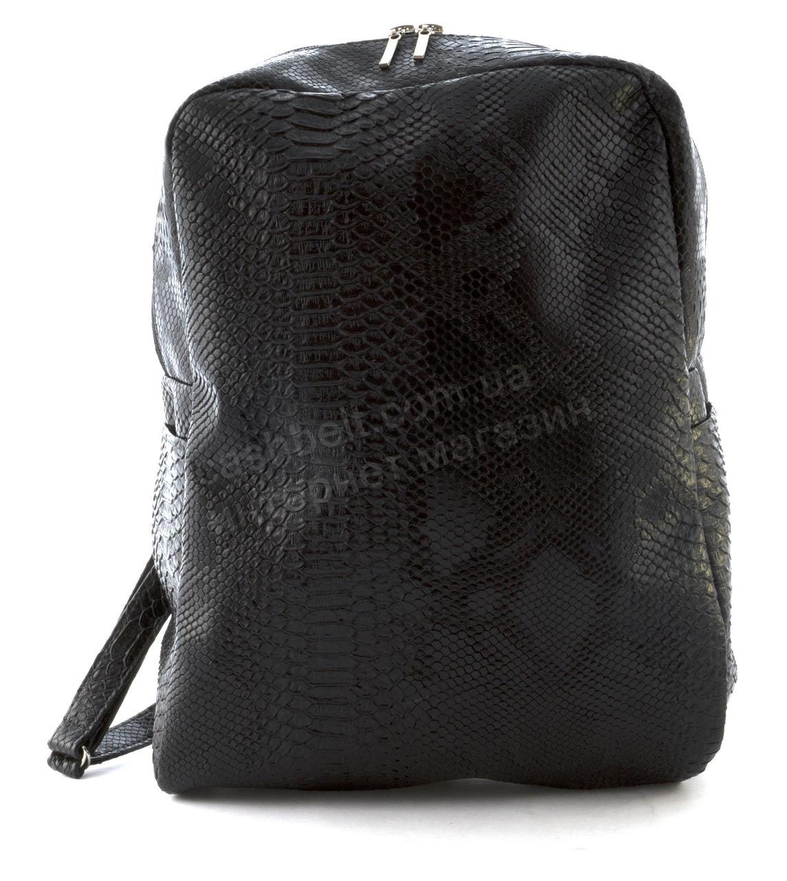 Стильный небольшой женский качественный рюкзачок с эко кожи под рептилию art. 42 (102298) черный