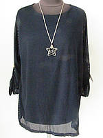 Блуза-туника двойка, сетка, украшение кулон звезда р.50-52 код 1575М