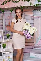 Красивое платье  по фигуре из льна мини короткие рукава бежевое
