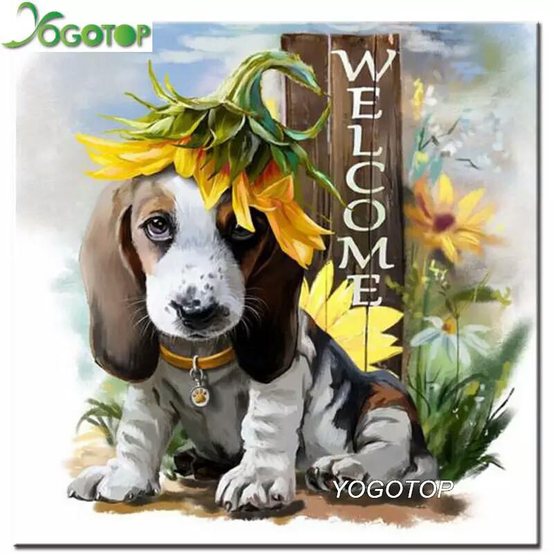 Алмазная вышивка 25*25 Собака Welcome полное заполнение, квадратные алмазы