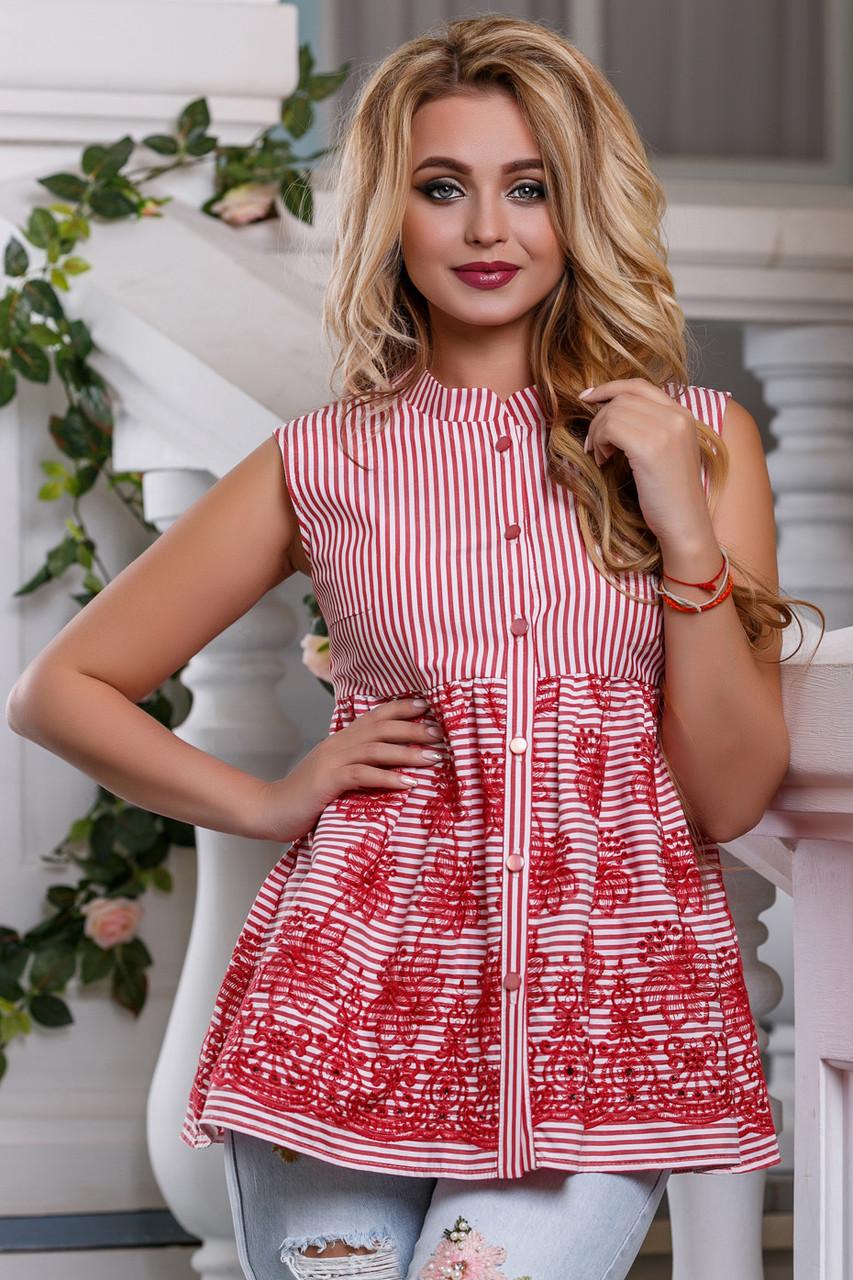 Хлопковая летняя блуза–туника с вышивкой 958(44–50р) в расцветках