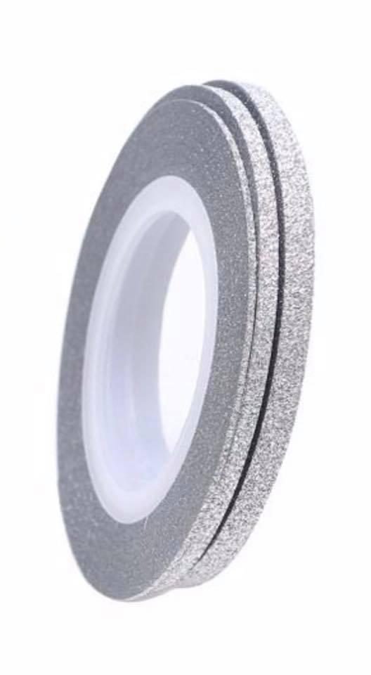 Набор лент  Серебро матовые с шиммером для дизайна ногтей 1 мм,2 мм,3 мм