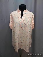 Блуза женская ANNA с коротким рукавом. 48,50,52рр Софт. Батал. 028. Персиковая в цветной горох