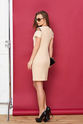 Летнее платье мини с коротким рукавом облегающее декольте сетка в горошек бежевое, фото 2