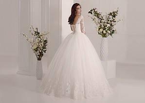 Пышное свадебное платье с длинными кружевными рукавами