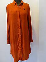Туника-рубашка, штапель длинный рукав,мелкий горох, р.48, код 1597М