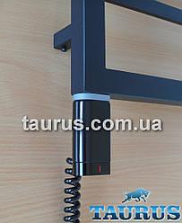 """Чёрный стальной ТЭН TERMA ONE D-форма 30х40: регулятор 45С и 60С + таймер 2 ч.+ LED, под пульт ДУ. Польша 1/2"""""""