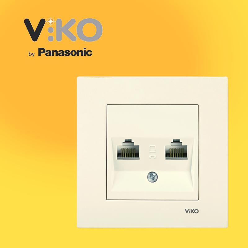 Розетка комп'ютерна подвійна (2xRJ45, Cat5e) VIKO Karre Білий