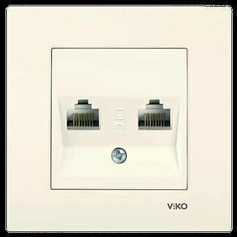Розетка комп'ютерна подвійна (2xRJ45, Cat5e) VIKO Karre Білий, фото 2