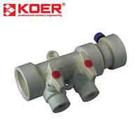 Коллектор с шаровыми кранами 2 выхода Koer PPR (40-20) полипропилен