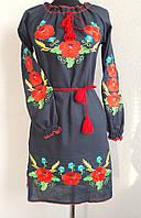 Черное вышитое платье длинный рукав , фото 1