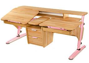 Стол Эргономик с тумбой для двоих детей, ДСП бук, каркас RAL-3015 (ТМ-Понди)