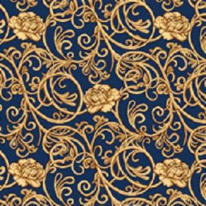 Синий бытовой ковролин Гвоздика на войлочной основе с рисунком
