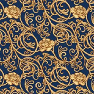Синий бытовой ковролин Гвоздика на войлочной основе с рисунком, фото 2