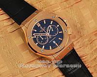 Мужские наручные часы Hublot Classic Fusion Chronograph King Leather Gold Black реплика хронограф кварцевые