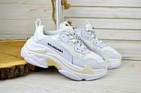Женские кроссовки Balenciaga бело-желтые 2572