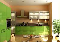 кухня из акрила зеленая фото 12