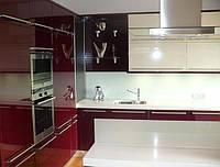 угловая кухня акриловая бордовая фото 19