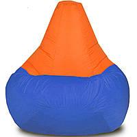 Мягкое кресло груша средняя Синий с Оранжевым