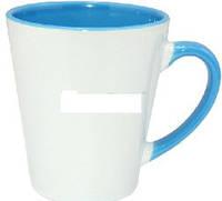 Кружка керамическая для сублимации цветная с цветной ручкой и внутри конусная Latte ( цвет голубой, 350 мл )