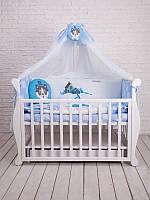 Детский постельный комплект Dckids CUTE HUSKY БК-001, голубой