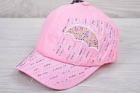 """Кепка детская х/б """"Зонтик"""" с вышивкой и стразами. Размер 48-50 см. Розовая. Оптом и в розницу."""