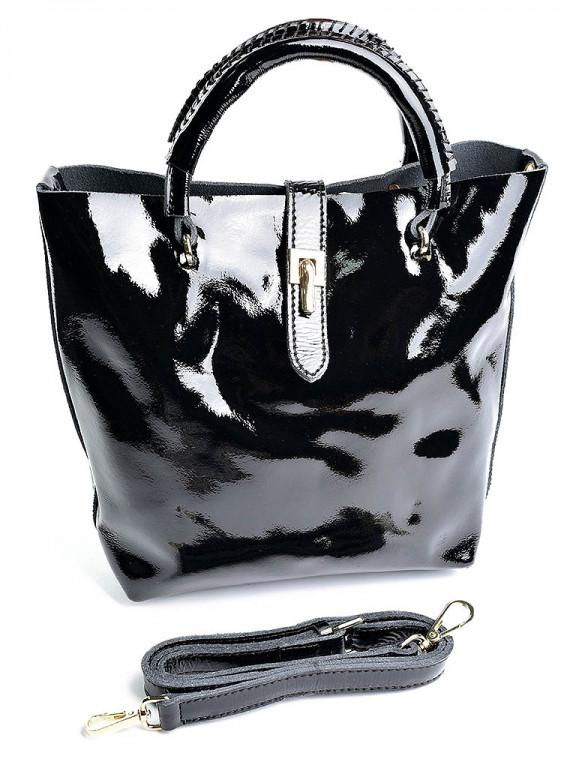 Сумка женская кожаная лаковая черная 8308-1 Black, цена 1 062,50 грн ... 17aa36d9d6a