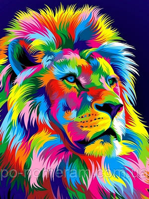 Раскраска по номерам радужный лев