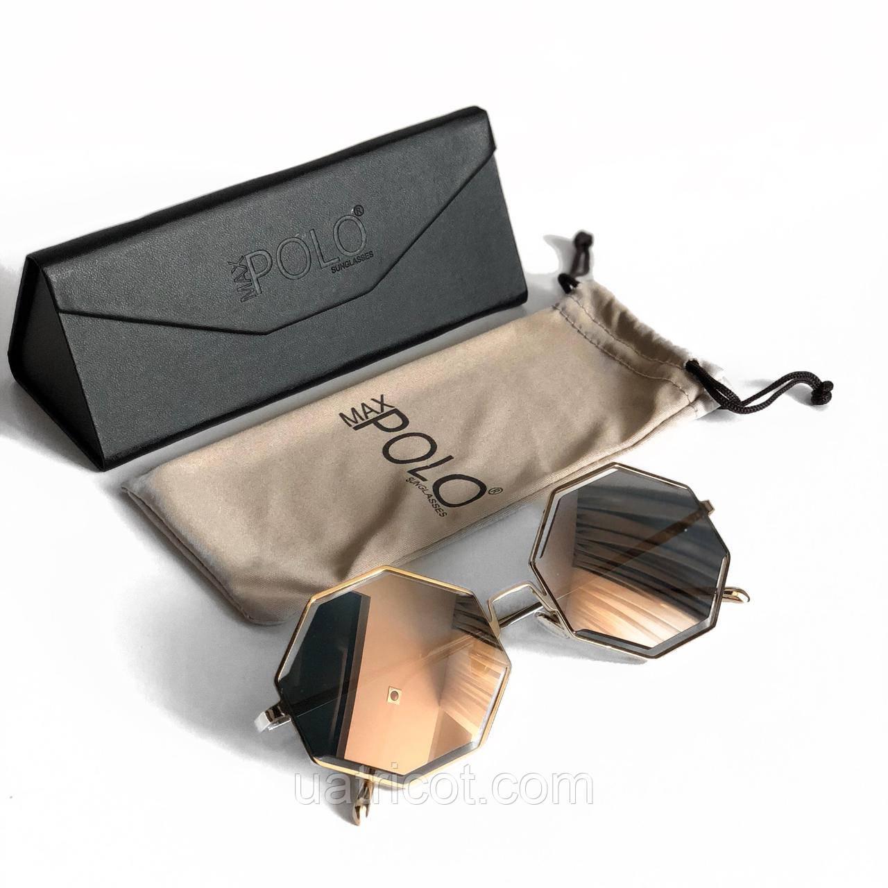 Женские солнцезащитные очки геометрия MAX POLO с зеркальными линзами