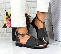 Туфли-босоножки с пояском и резинкой, никель