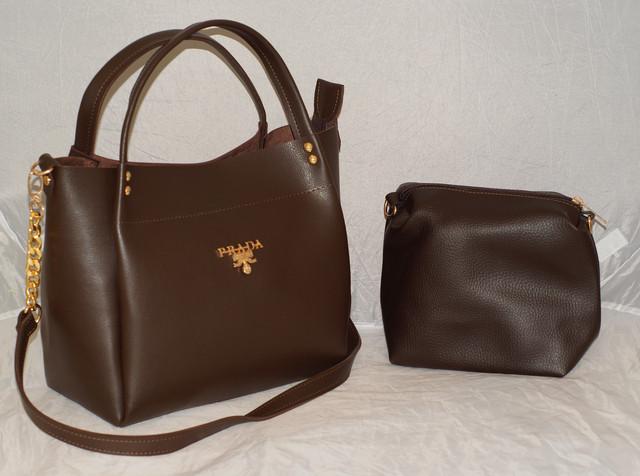 Коричневая женская сумка с косметичкой