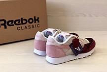 Кроссовки женские Reebok Classic код товара 4S-1076. Бордово-бежевые, фото 2