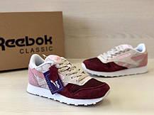 Кроссовки женские Reebok Classic код товара 4S-1076. Бордово-бежевые, фото 3