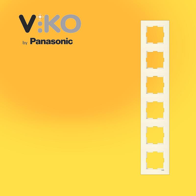 Шестерная вертикальная рамка VIKO Karre Крем