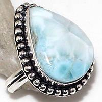 Красивейшее кольцо с натуральным ларимаром (Доминикана). Кольцо с камнем ларимар в серебре., фото 1