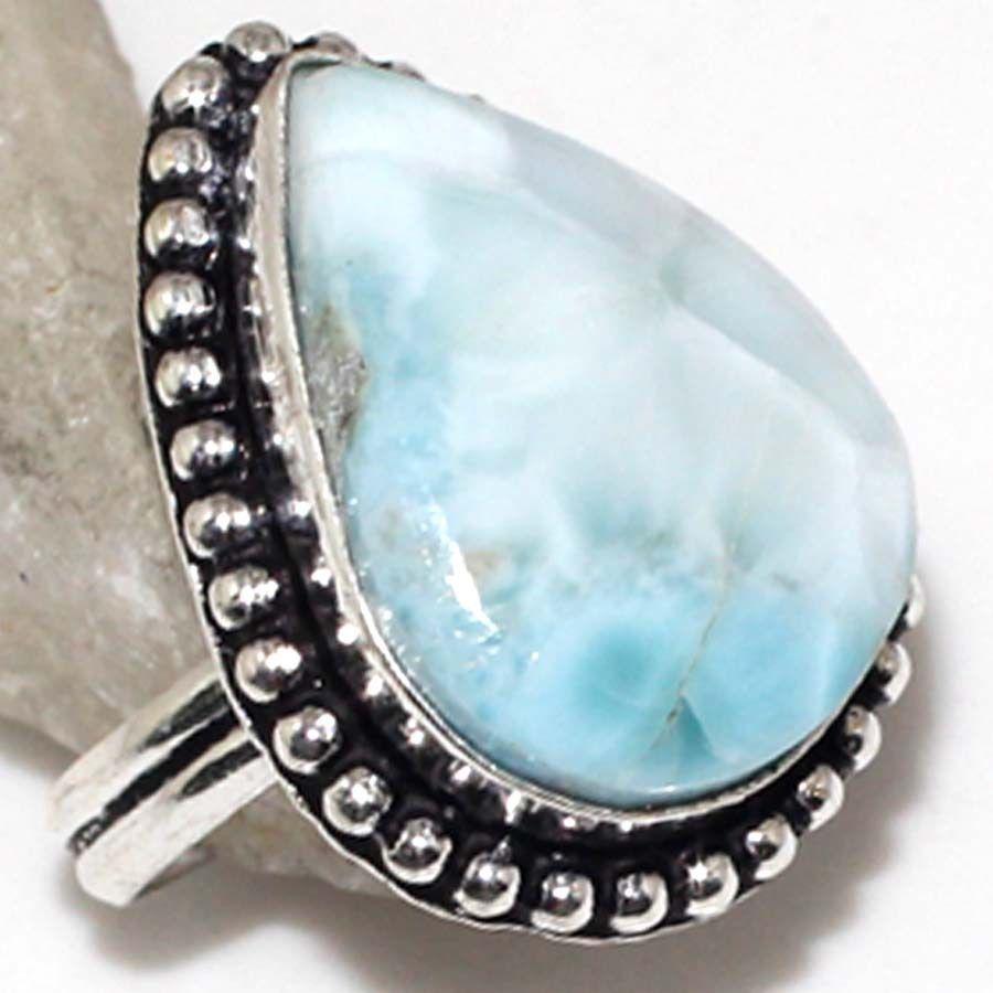 Красивейшее кольцо капля с натуральным ларимаром Доминикана 19 размер кольцо ларимар в серебре, фото 1