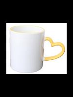 Кружка керамическая для сублимации цветная с цветной ручкой в форме сердца и ободок ( цвет желтый )