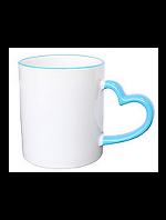 Кружка керамическая для сублимации цветная с цветной ручкой в форме сердца и ободок ( цвет светло-голубой )