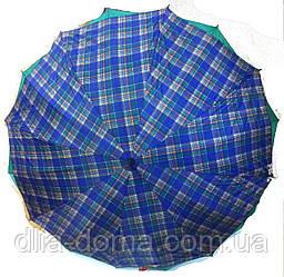 Зонты женские трость двойная ткань Звезда Синий клетка