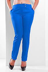 Женские классические брюки с подворотами большие размеры цвет электрик