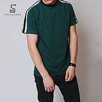 Футболка мужская MS GREEN18, зеленая с полосами, фото 1