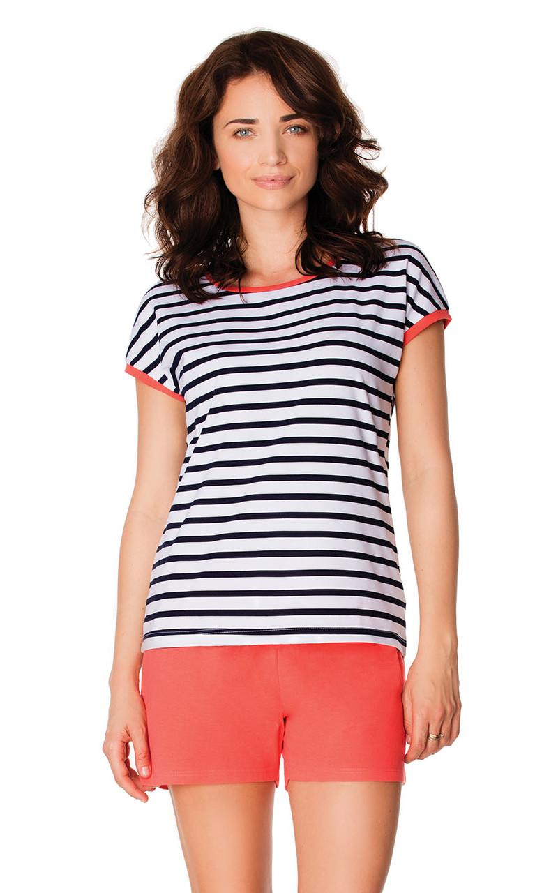 Смугаста жіноча піжама із футболкою та шортами Wadima 104440