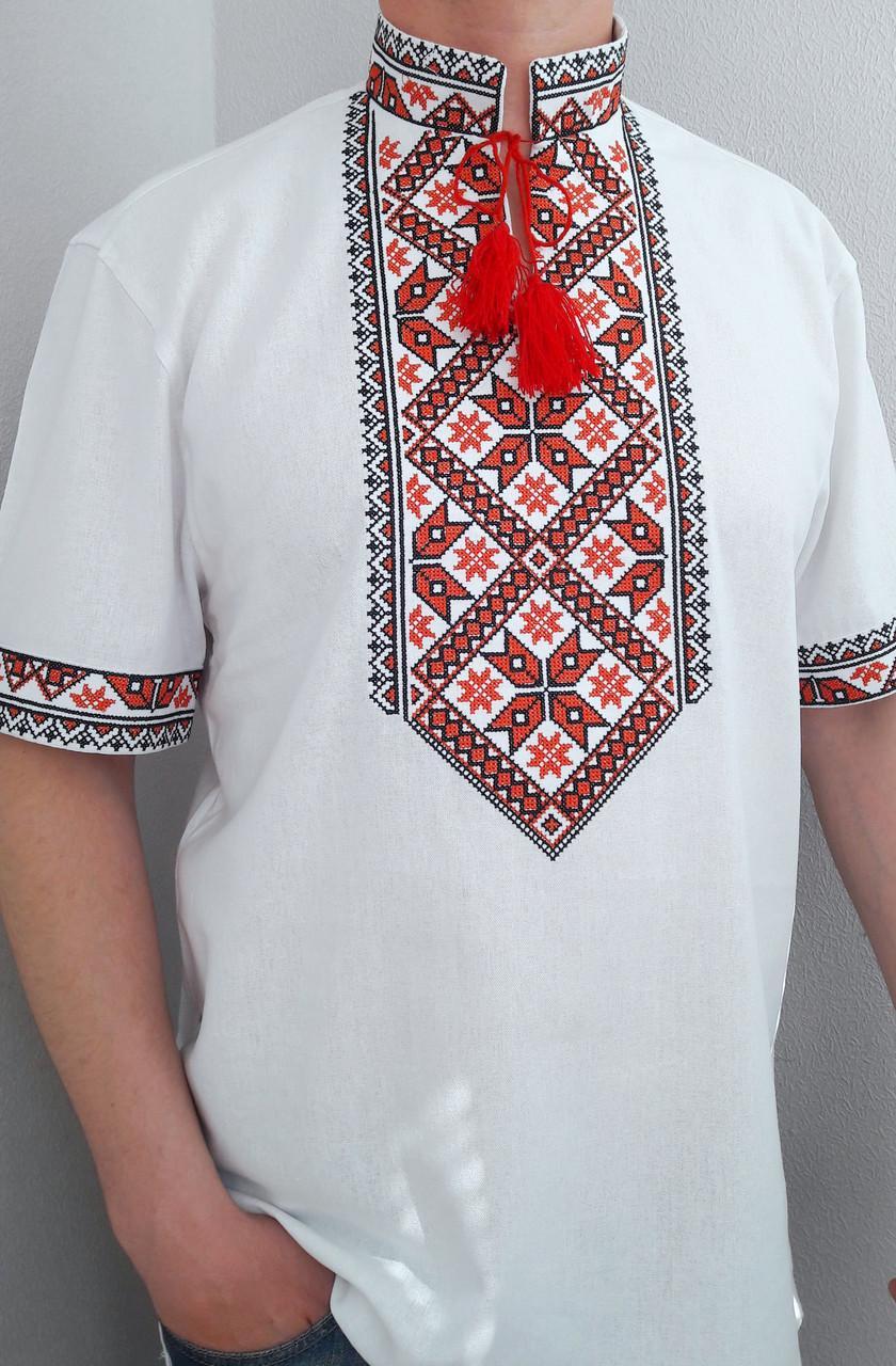 Мужская вышиванка из льна короткий рукав, фото 1